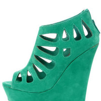 Dollhouse Caged Sea Green Cutout Peep Toe Platform Wedge Booties