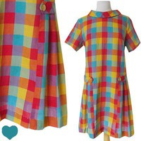 Vintage 60s Rainbow PLAID Print MOD Shift Dress XL XXL 1X Plus MAD MEN Dolly Day