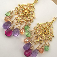 Multicolor Gemstone Chandelier Earrings Gold by TownCountryJewelry