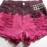 Levis  Denim Shorts --Hot Pink  Ombre with Cone Studs Waist 27  inch