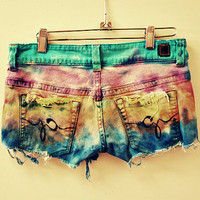 Cecilia ombre boho tie dye hippy rocker short by GypsyAffairs