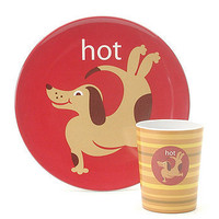 Hot Dog Melamine Plate & Cup