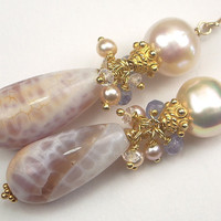 Pastel Cluster Earrings Pearl Fire Agate by TownCountryJewelry
