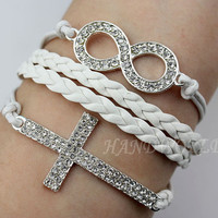 bright diamond bracelet,diamonds infinity karma bracelet, diamonds cross bracelet,fiendship bracelet,the most gift.-N974