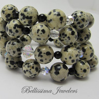 Wire Wrapped Dalmatian Bracelet, Handmade Beaded Jewelry, Unique Dalmatian Beads