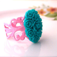 Flower Resin Ring, Seafoam Flower Cluster, Oval, Powder Pink Adjustable Base, Shabby Chic, Women, Teens Trendy Ring
