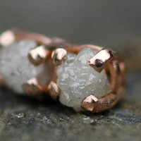 Rough Diamonds in Recycled 14k Rose Gold Earrings by Specimental