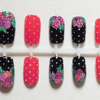 Black and Red Fake Nails with Handpainted Flowers / Floral Print and Polka Dots Nail Set
