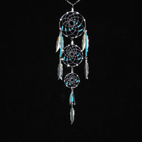 Triple Hoop Silver Dreamcatcher Necklace