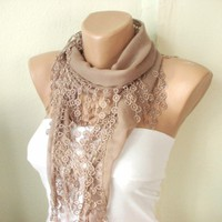 Beige Cotton Scarf with Lace | moonfairy - Accessories on ArtFire