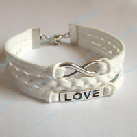 infinity bracelet, love bracelet, wedding infinity charm and love charm, men's women's leather bracelets, braided bracelets