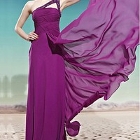 [179.99] In Stock Noble Sheath One Shoulder Neckline Full Length Beaded Ruched Formal Dress - Dressilyme.com