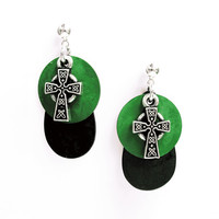 Green Celtic Earrings - Black Patina&#x27;d Metal Disc, Green Patina&#x27;d Metal Disc, and Pewter Celtic Cross - on Ear Posts or Ear Wires