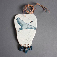Fly with me - Statement necklace art pendant  clay bird original miniature acrylic painting with a thong valentines day gift