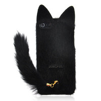Black Fluffy Cat with Tail Case for iPhone 5 from Hallomall