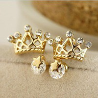 shining stars crown earrings set Ear stud accessories gift-yellow