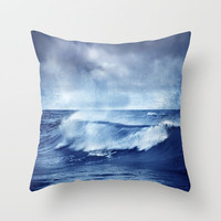 Blue wave Throw Pillow by Guido Montas