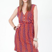Broken Chevron Button Down Dress - ShopSosie.com
