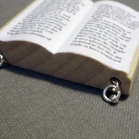 Alice in Wonderland Miniature Wooden Book Necklace