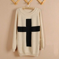 Beige Cross Pullover Long Sleeve Sweater