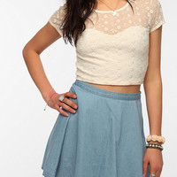 Pins And Needles Patterned Mesh Crop Top