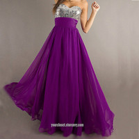 Purple beading floor-length prom/evening dress