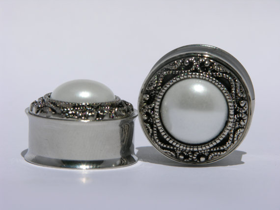 Classic Silver and Pearl Wedding Plugs 00 Gauge by arksendeavors