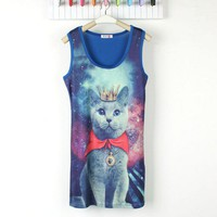 Blue Galaxy With Kitty Pattern One Piece Dress [826]