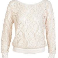 Soft Lace Raglan Long-Sleeve