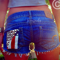 Vintage low rise studded denim shortsAmerican flag  by Jeansonly