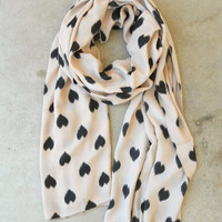 Sketched Hearts Scarf in Taupe [3325] - $21.00 : Vintage Inspired Clothing &amp; Affordable Fall Frocks, deloom | Modern. Vintage. Crafted.