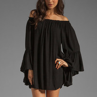 Indah Kamani Flounce Ruffle Edge Mini Dress in Black from REVOLVEclothing.com