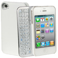 Sliding Black or White Bluetooth Keyboard+Hardshell Case for iPhone 4 and 4s