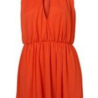 Bqueen Orange Retro Hanging-neck Halter Dress MM0015