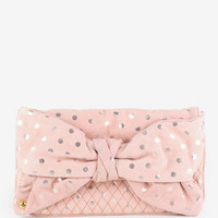 Juicy Couture Flair Polka Dot Suede Oversized Bow Clutch in Damsel :: tobi
