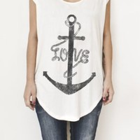 Bow & Arrow Women`s Anchor Love Printed White T-shirt: Clothing