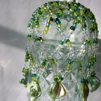 Beaded Bottle Cover in Shades of Green