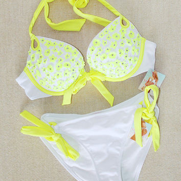 New Victoria's Secret Gorgeous Push Up Embellished White Bikini Swimsuit 34A S