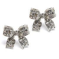 Fashion Crystal Pave Bow Ribbon Stud Earrings Silver: Jewelry
