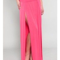 High Waist Banded Maxi Skirt With Double Slit - Coral  Tanny&#x27;s Couture LLC