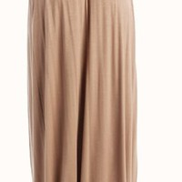 High Waist Banded Maxi  Skirt With Double Slit - Mocha  Tanny&#x27;s Couture LLC