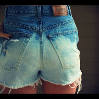 High Waisted Bleached Jean Shorts