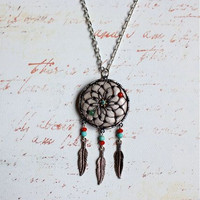Jade Flower Dream Catcher Necklace by PurpleShmurpleShoppe on Etsy