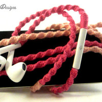 Wrapped Earpods / Tangle Free Headphones Earbuds 'Barbie' By Wrapture Designs