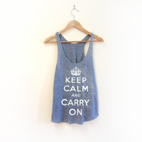 Keep Calm and Carry On Racerback Hand Stenciled by twostringjane