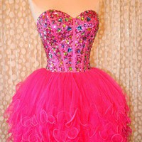 Amazing Lovely Ball Gown Sweetheart Mini Prom Dress with Rhinestones