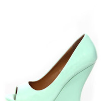 Paris Mint Patent Peep Toe Platform Wedges
