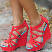 Australian Shore Wedges: Coral/Mint | Hope's