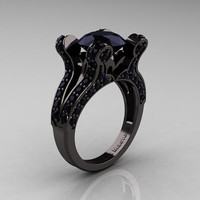 French Vintage 14K Black Gold 3.0 CT Black Diamond Pisces Wedding Ring Engagement Ring Y228-14KBGBD