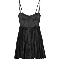Elizabeth and James Washed-satin bustier dress
